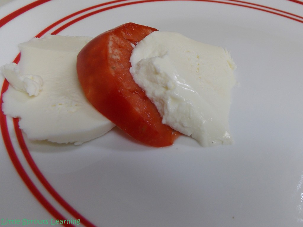 Layer the mozzarella alternately with the tomato slices on a plate or platter.