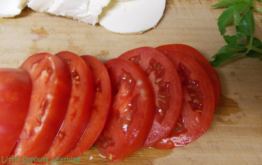 Slice a perfectly ripe juicy tomato.