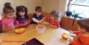 making pumpkin seeds with kids