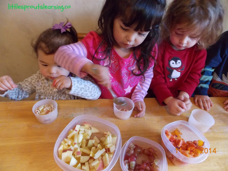making fruit parfaits with kids
