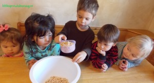 making snack mix with preschoolers