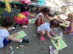 watercolors over glue, relief paint for preschool