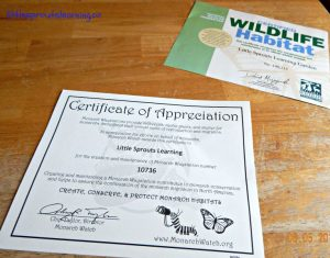 certified wildlife habitat and monarch waystation certificates