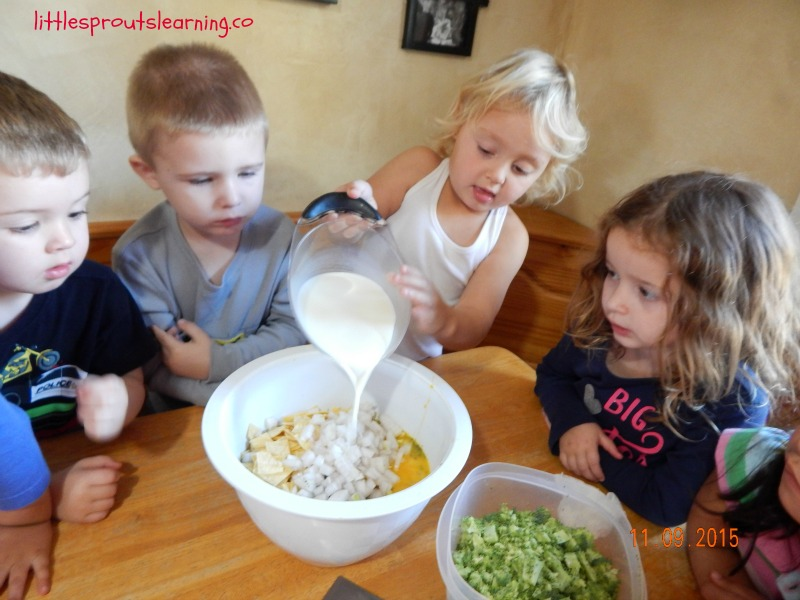 cooking egg casserole with kids
