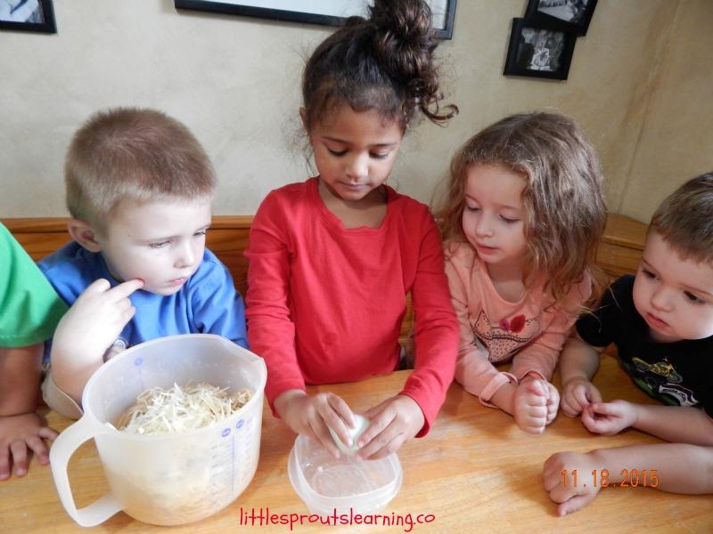 kids cooking spaghetti pie