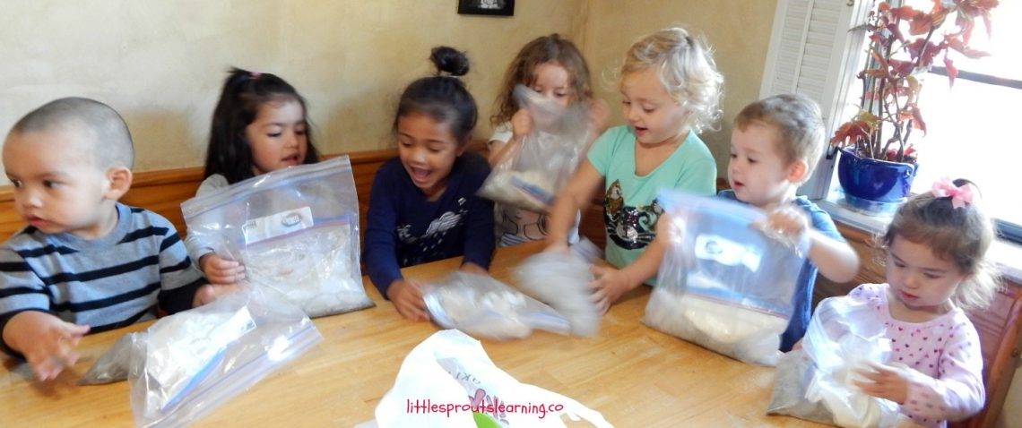 kids shaking ice cream in bags