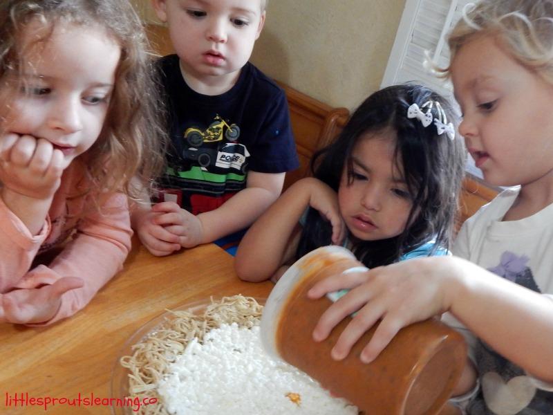 making spaghetti pie with kids
