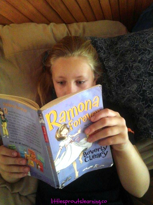 mia reading ramona forever by Beverly Cleary