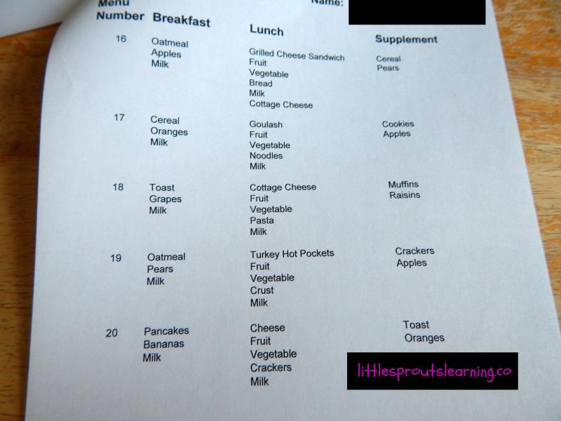 menu planning for childcare daycare food program