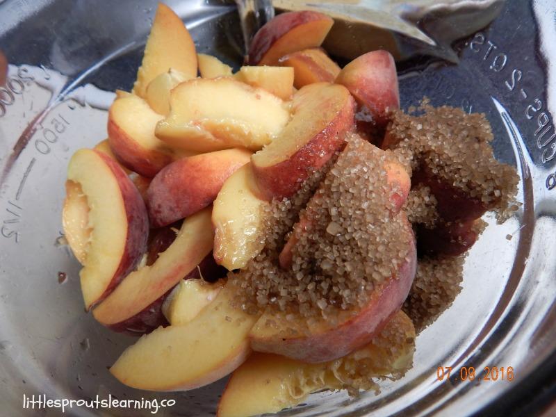 homemade peach crumble
