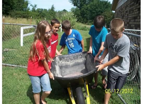 kids working together to move wheelbarrow in a children's garden