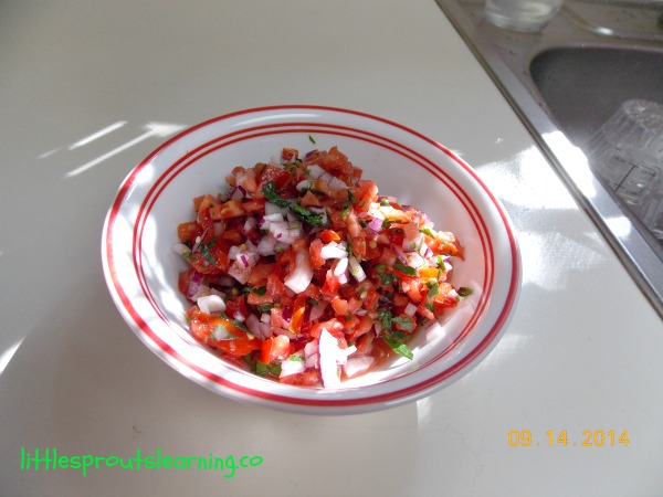 pico de gallo in a bowl on the counter