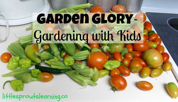 Gardening with kids, picking okra