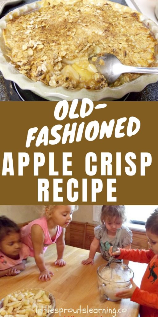 An apple theme is not complete without tasting apples. This old fashioned apple crisp is an easy recipe that kids can make in no time and it's delish!