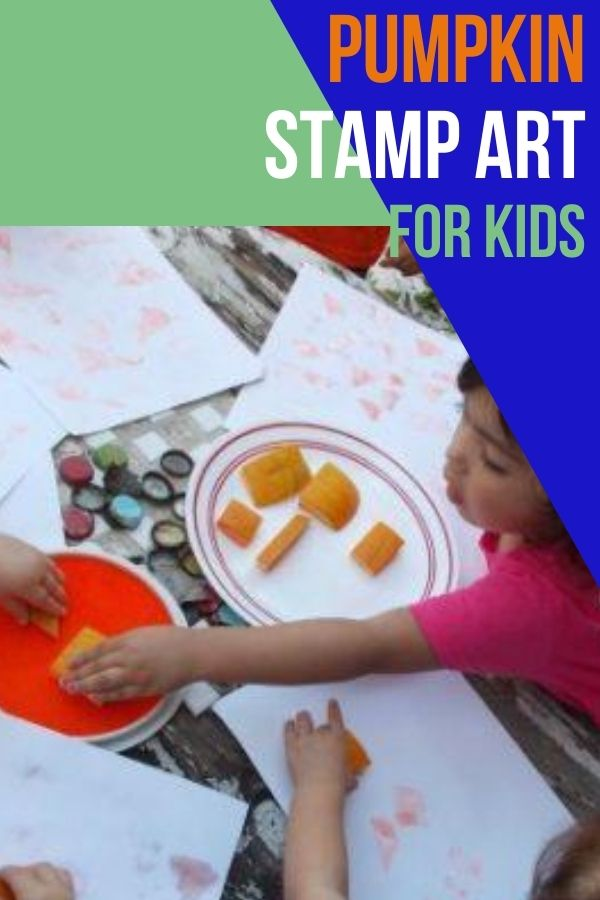 A great fine motor and sensory experience for kids is pumpkin stamping. They can dip them in paint or like we did, an ink pad, and stamp the shapes onto paper.