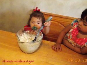 cooking apple crisp with kids