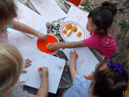 A great fine motor and sensory experience for kids is pumpkin stamping art. They can dip them in paint or ink and stamp the shapes onto paper.