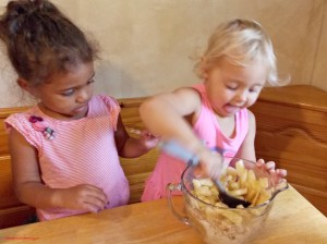 stirring apple pie