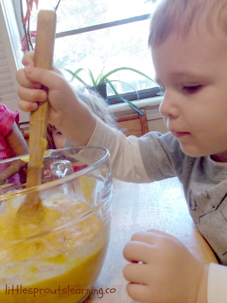 cooking with kids stirring