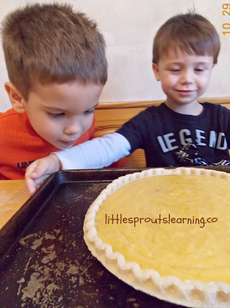 Pumpkin pie baking with kids