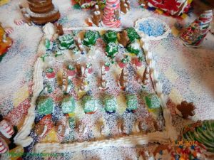 closeup of gingerbread community garden