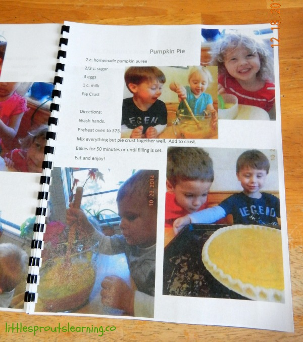inside page of children's cookbook showing recipe with children's photos.