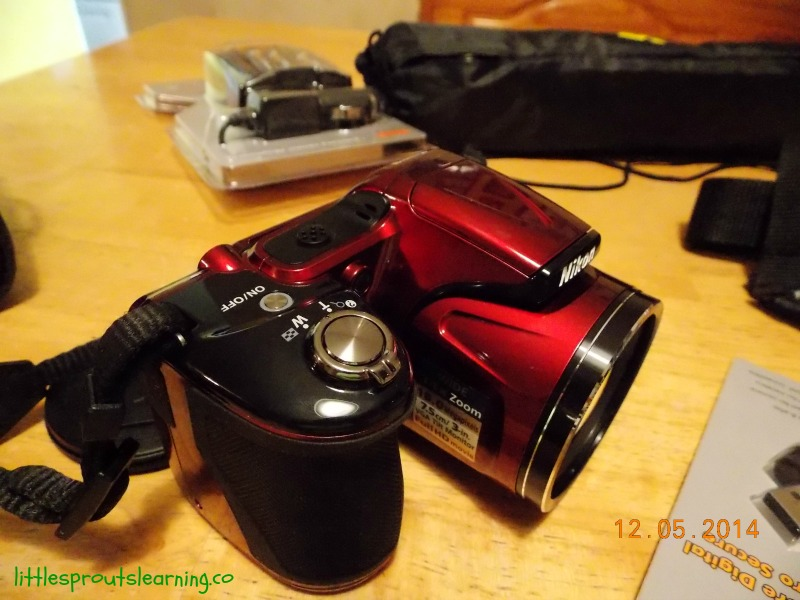 childcare provider gift, red nikon coolpix camera with all the accessories