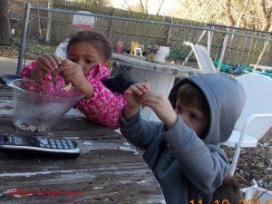 kids shelling beans