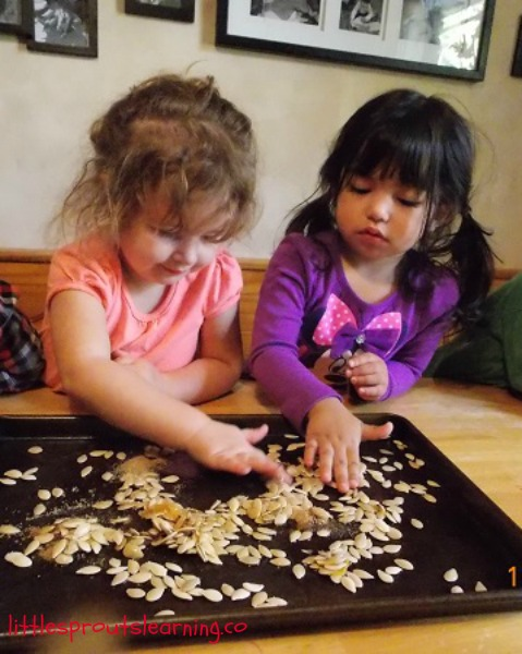 roasting pumpkin seeds with kids