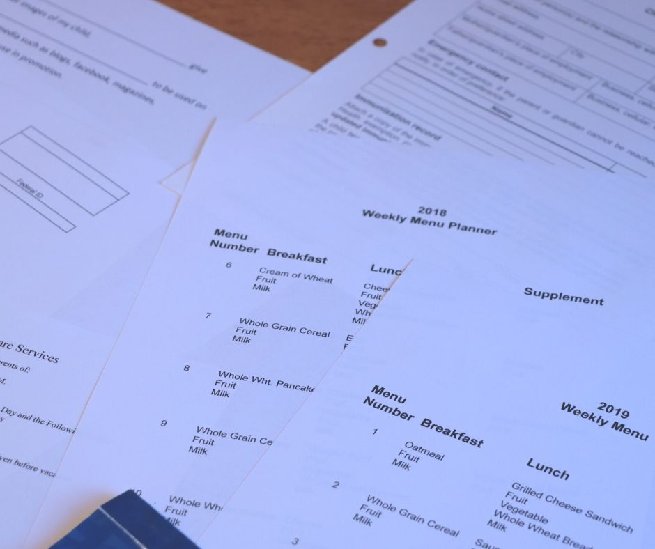 Daycare paperwork packet for interviewing new daycare clients