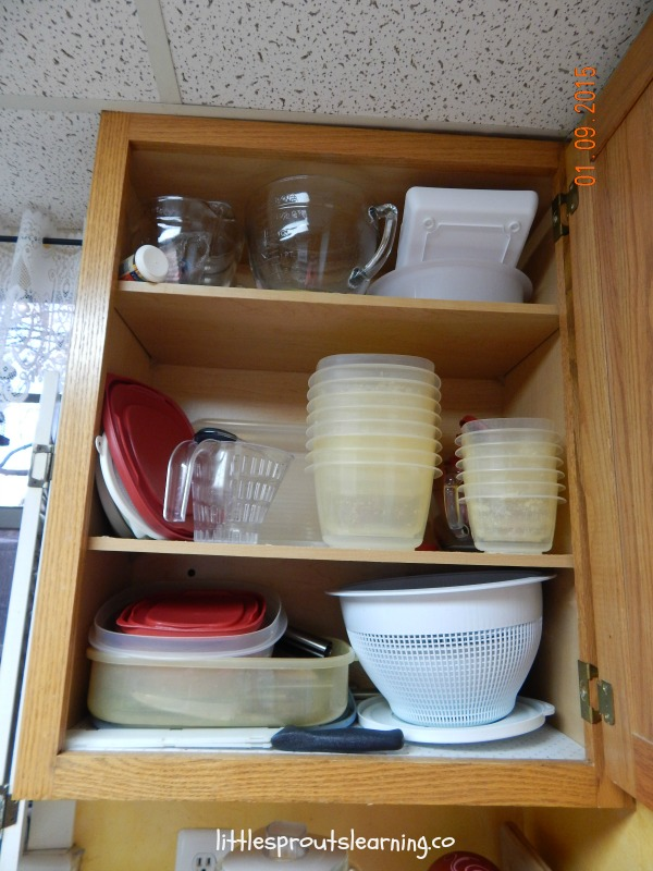 organized kitchen cabinet in tiny kitchen