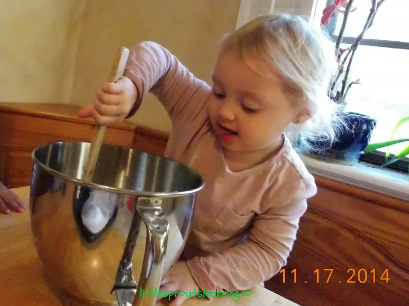 baking with kids, banana bread recipe, child stirring mixture