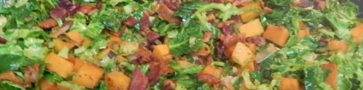 Sweet potatoes and brussels sprouts go great together. This saute is an amazing brussels sprout recipe, and the bacon makes it out of this world! I love making healthy vegetables into dishes that the whole family loves.