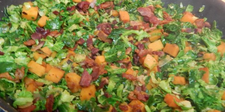 Brussels sprouts and sweet potatoes go great together and this brussels sprouts and sweet potato bacon saute recipe will be a keeper for you for sure.