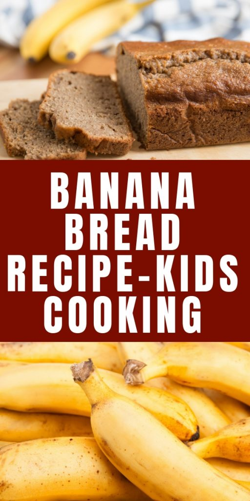 Check out this super simple banana bread recipe to cook with your kids today. Cooking teaches kids skills and helps them try new foods.