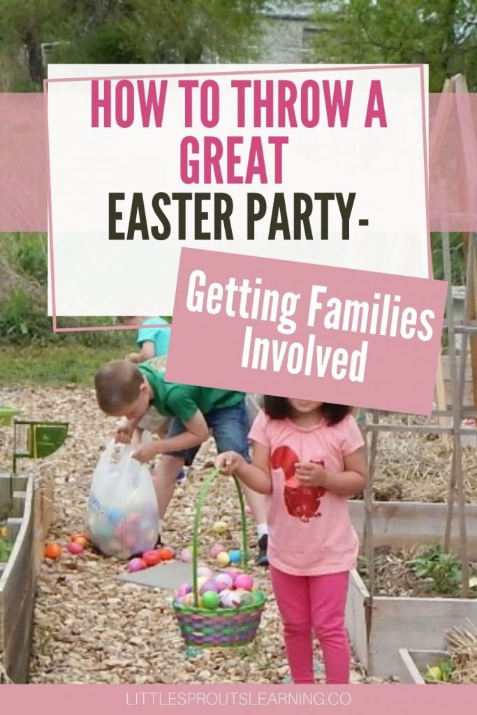 children hunting easter eggs in the garden, child holding basket and smiling