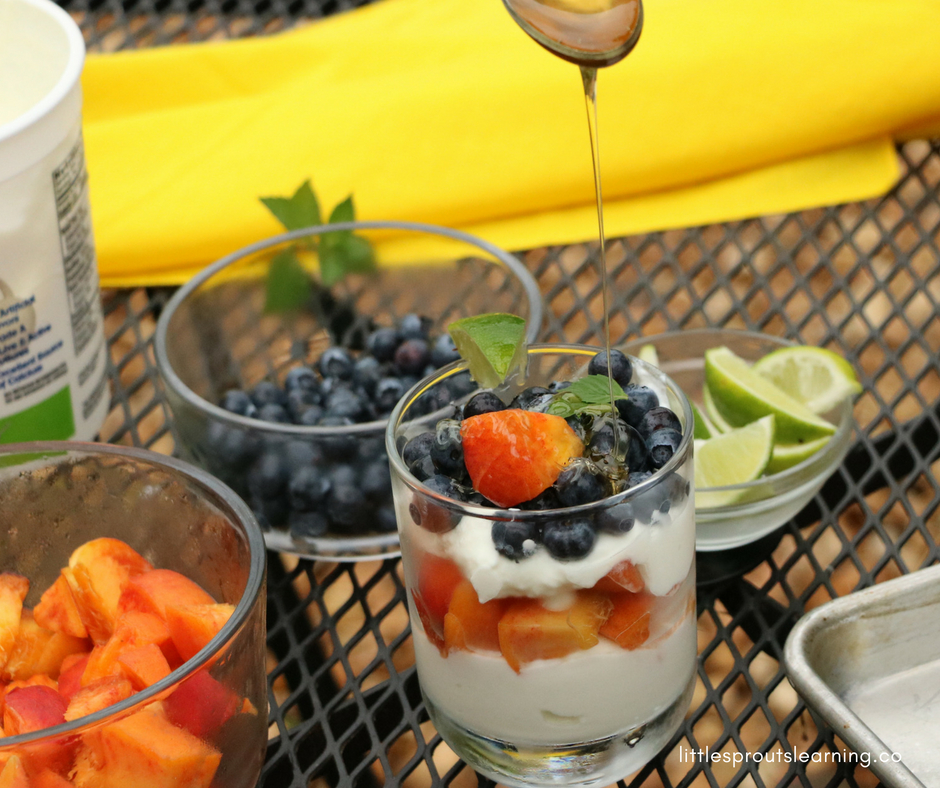 What better snack to make with kids than healthy yogurt parfait recipe? Parfaits are fun to eat. Getting kids involved in preparing food teaches them a plethora of skills such as math, pre-reading, measuring, fine motor, and many others. Letting kids help prepare their own meals and snacks makes them more likely to want to try new foods as well.