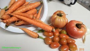 harvesting veggies with kids