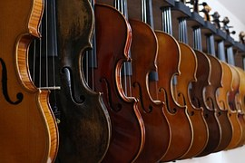 a row of beautiful violins