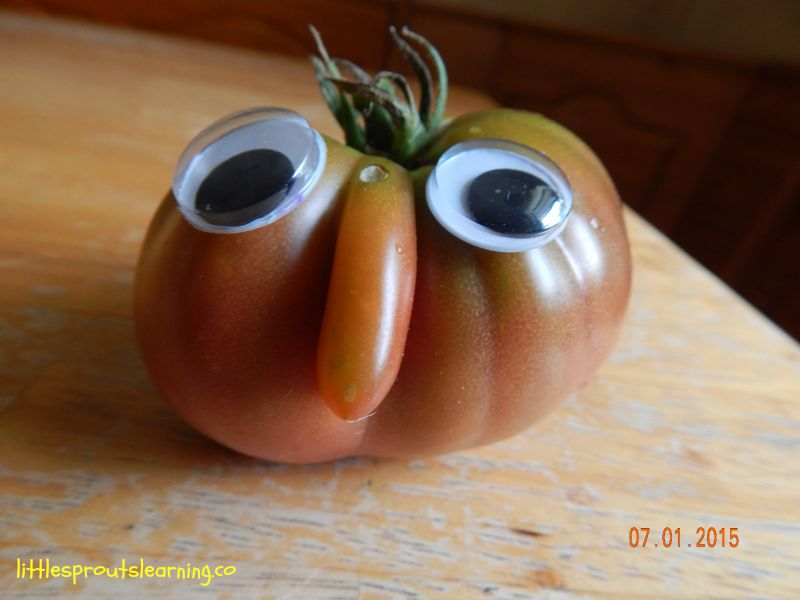 funny tomato with big nose and wiggly eyes