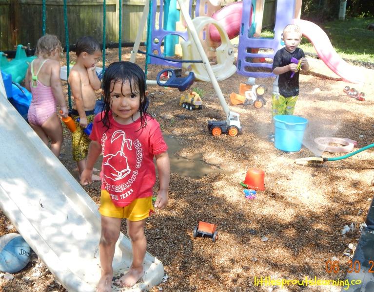 water day fun in the sprinkler