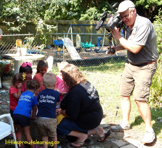 Little sprouts being filmed for Oklahoma Gardening tv show