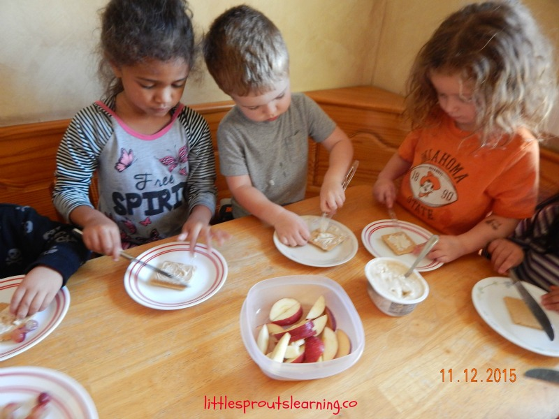 Cooking fruit pizza with kids