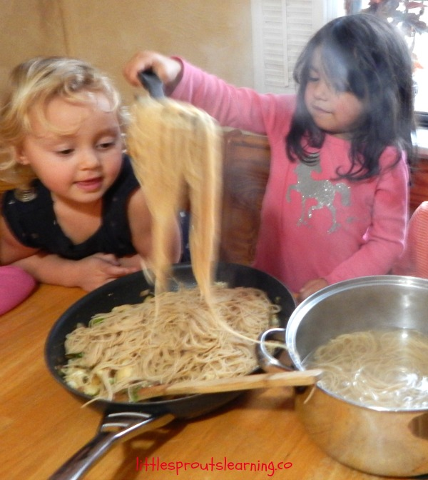 Kids cooking school is fun and rewarding! This Lotsa Pasta recipe was a huge hit here at Little Sprouts. Even the picky eaters like it.