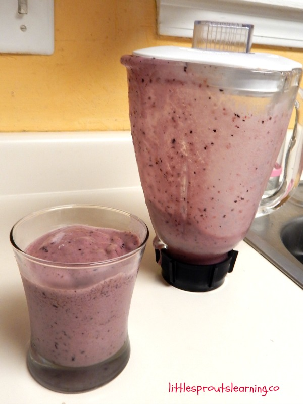 blueberry peach smoothie on the counter with blender behind it. Yummy healthy smoothies for toddlers and the rest of us