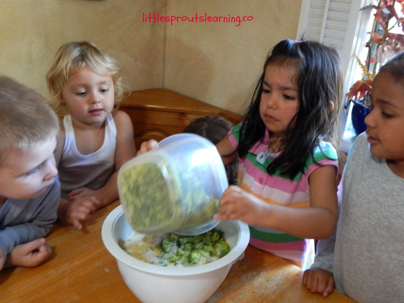 vegetable and egg casserole, cooking with kids