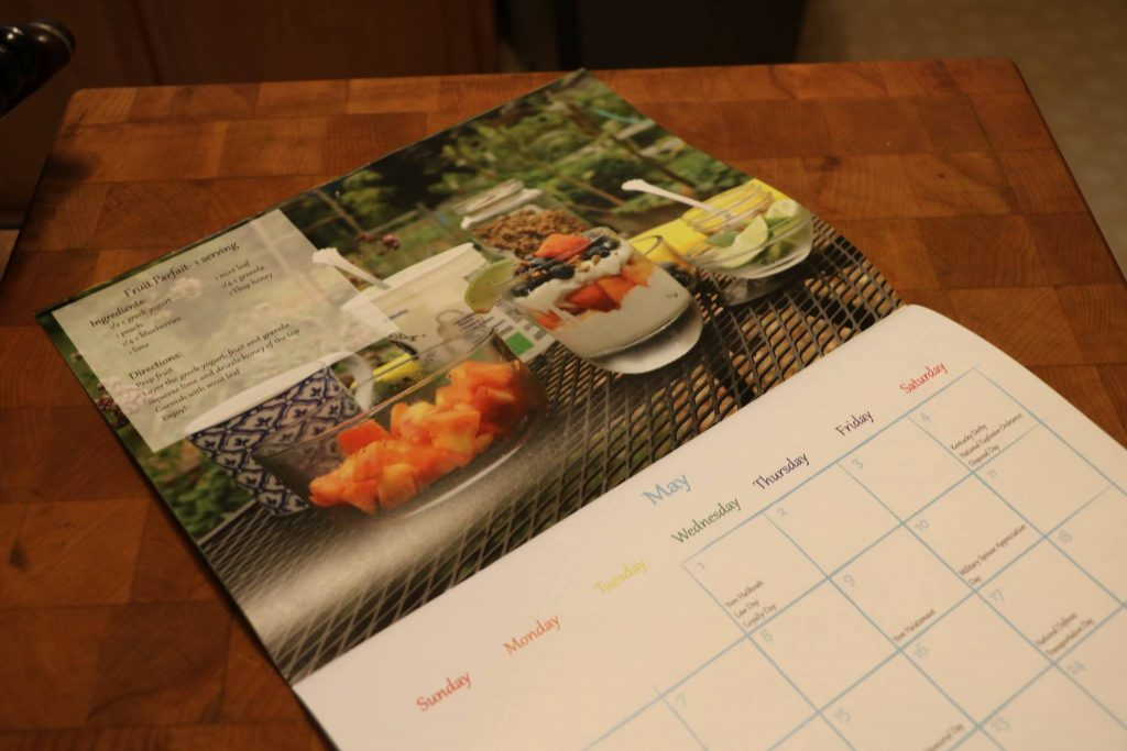 Calendar showcasing recipes for produce in season in Oklahoma