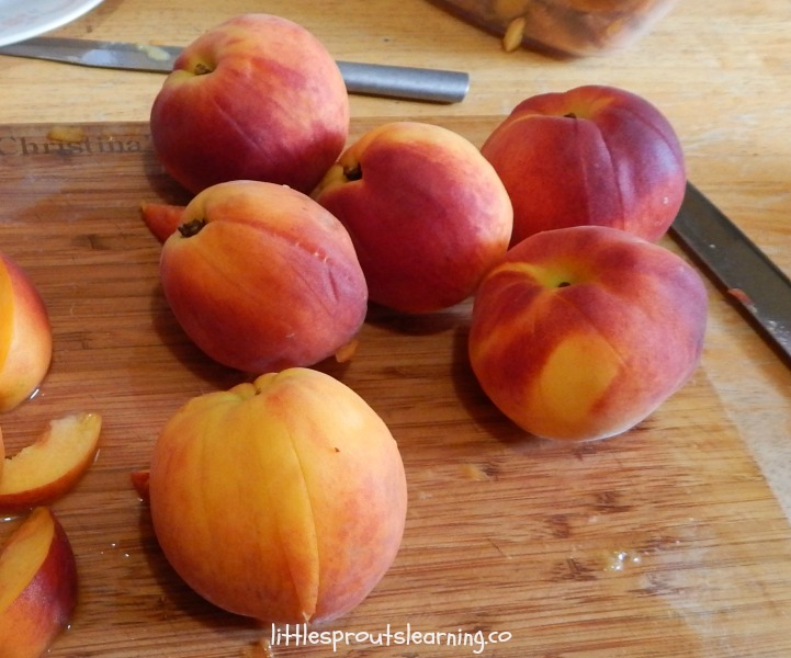 fresh peaches, just sliced and ready to remove from the pit.