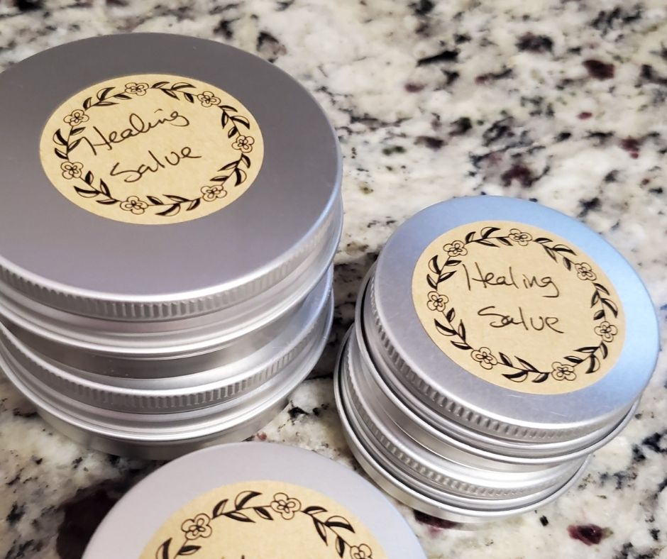 tins of salve on the counter