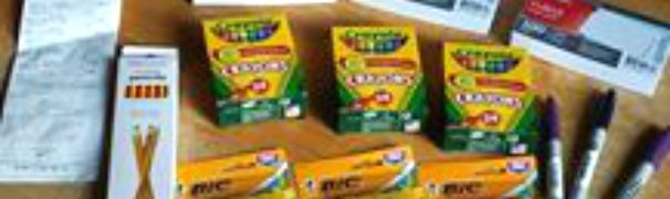 HOW TO SAVE MONEY ON SCHOOL SUPPLIES: I love a great deal on school supplies. I use them by the truckload for my daycare and I get them when the sales are on to save money year round. I save a ton on glue sticks, markers, crayons, paper and glue. Check out how to save money on school supplies too.